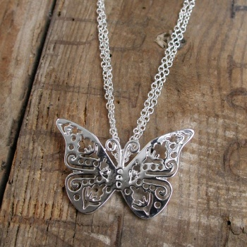 pom butterfly necklace