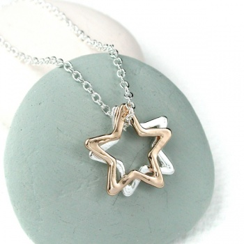 Pom double open stars rose/silver plated necklace