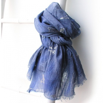 pom blue scarf with silver birds and butterflies design