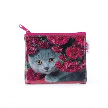 Catseye cat with flowers coin purse
