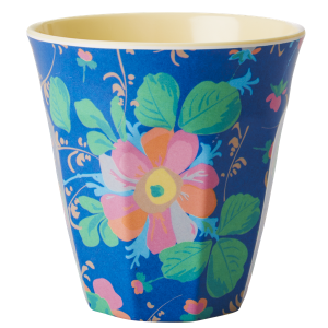 Rice Two Tone Melamine Blue Bold Floral Cup