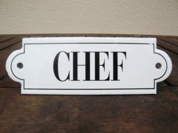 French enamel sign - Chef