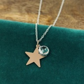 Pom rose gold star/clear crystal pendant on chain