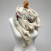 Pom ivory embroidered scarf