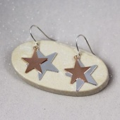 Pom silver plated/rose gold star drop earrings