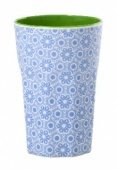 Rice Melamine two tone latte cup in blue Marrakesh print