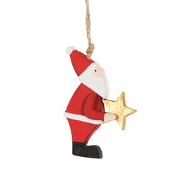 Santa holding star wooden hanging decoration.
