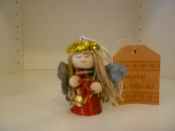 Tartan Angel Doll with bell hanging decoration
