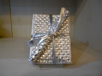Silver sparkle notebook and pen set.