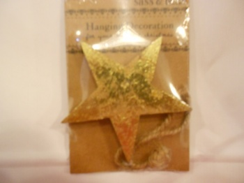 Gold Star wooden hanging decoration