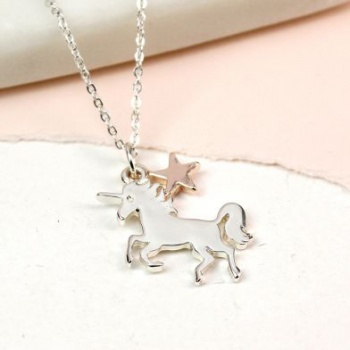 Silver plated Dancing Unicorn and star necklace