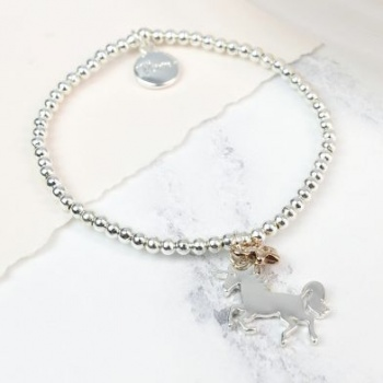 Silver plated Dancing Unicorn bracelet