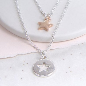 Double Row Silver Plated Star Necklace.