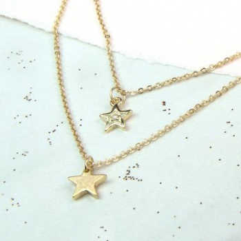 Two row gold plated star necklace