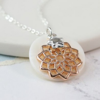 Silver plated, rose gold plated mandala pearl disc necklace.