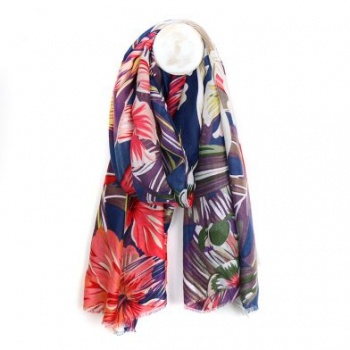 Navy tropical print scarf.