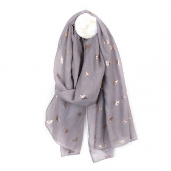 Grey scarf  with rose gold Bee print