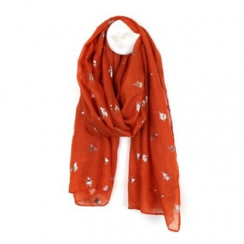 Burnt orange scarf with rose gold Bee print