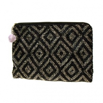 Black And Grey Beaded clutch bag