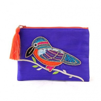 Purple purse with embellished Kingfisher