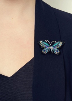 Rosie Fox rainbow butterfly brooch