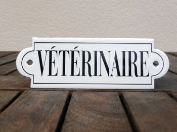 French enamel sign - Veterinaire