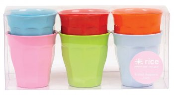 Set of 6 Small Melamine Cups - Assorted Colours