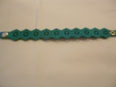 Turquoise Leather Cut -Out Design Bracelet.