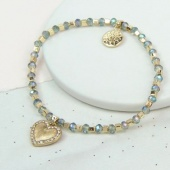 Blue and Gold Heart Bracelet