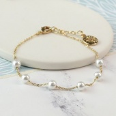 Gold plated bracelet glass pearl beads