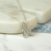 Sterling Silver Cyrstal Star necklace .