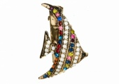 Rosie Fox rainbow crystal fish brooch